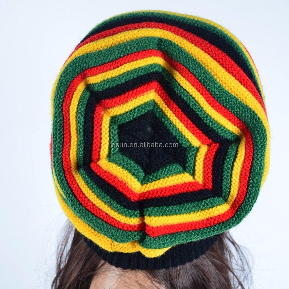 Unisex De Punto Moda Rasta Ganchillo Slouchy Tam Reggae Bob Marley ...