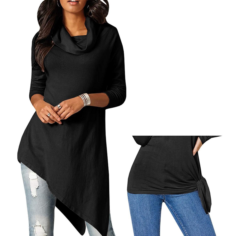 M/&S/&W Women Fashion Soild Color Turtleneck Ruff Long Sleeve Casual Slim Tees