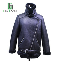High quality pu jacket with belt faux fur lined jacket pu leather jacket for women