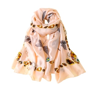 PEIHANLI Chinese Fashion women quality infinity Sunscreen Long Shawls Dragonfly and gemstone print lady 100% silk scarf