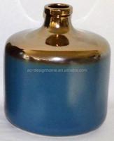 METALLIC BRONZE/BLUE SMALL ROUND CERAMIC VASE