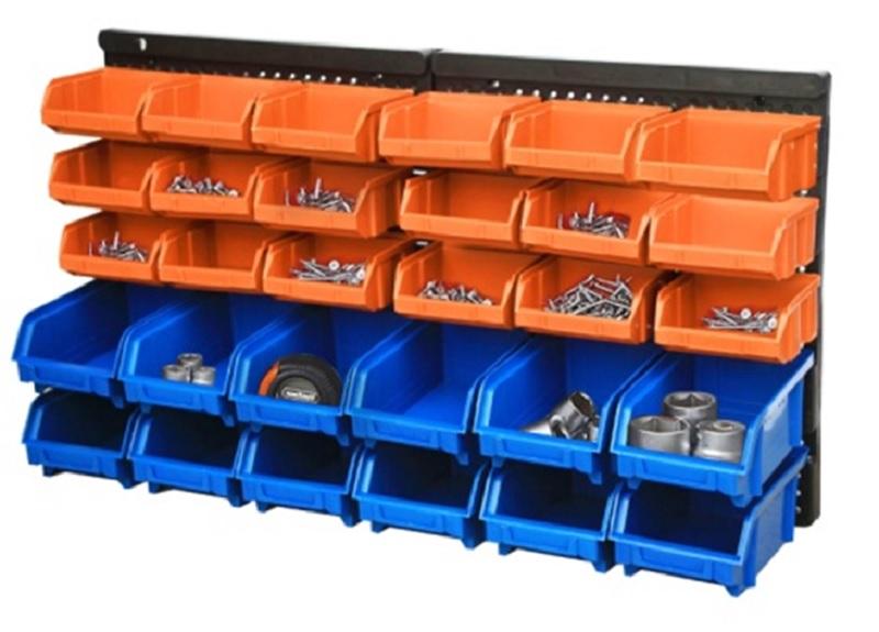Wall mount industriële PP plastic gereedschaphouder opslag bins groothandel, wall mount workshop garage tool opslag