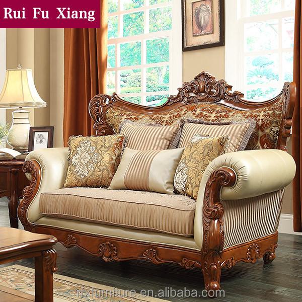 amricain meubles de archaize caoutchouc bois massif canap avec cuir et tissu fini n 213 - Salon En Bois Massif Cuire