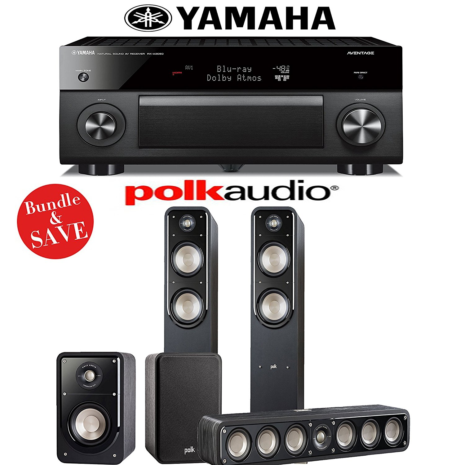 Yamaha RX-A3060BL AVENTAGE 11.2-Channel Network A/V Receiver + Polk Audio S55 + Polk Audio S35 + Polk Audio S15 - 5.0 Home Theater Package