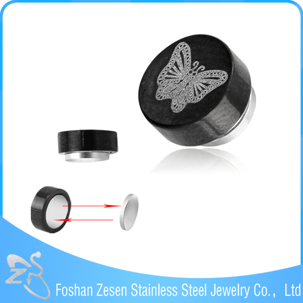 Competitive price titanium anodized stainless steel cheap butterfly korean magnetic earrings