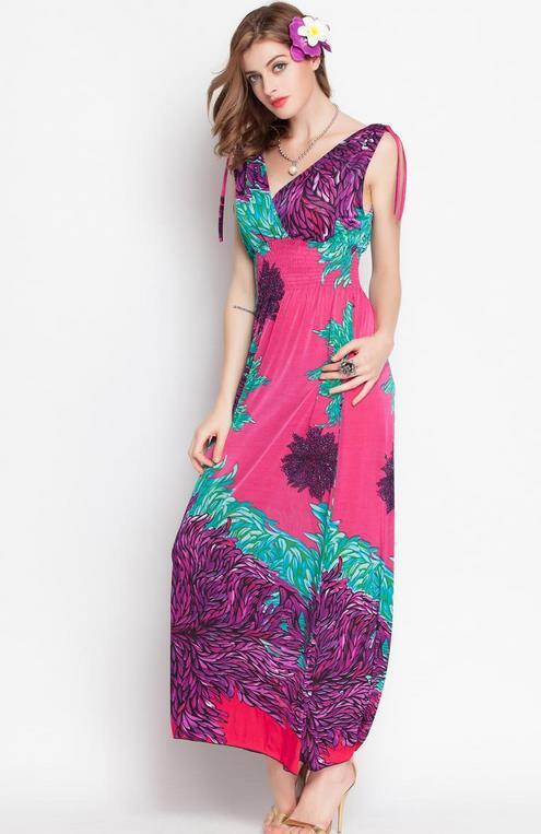 2611356bf9 Summer style women sleeveless long dress fashion wave color print Pattern casual  maxi dress bohemian beach Vestidos Feminino