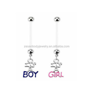PTFE Flexible BOY GIRL Pregnancy Belly Rings Navel Piercing Nombril Fashion Body Jewelry Belly Piercing Jewelry