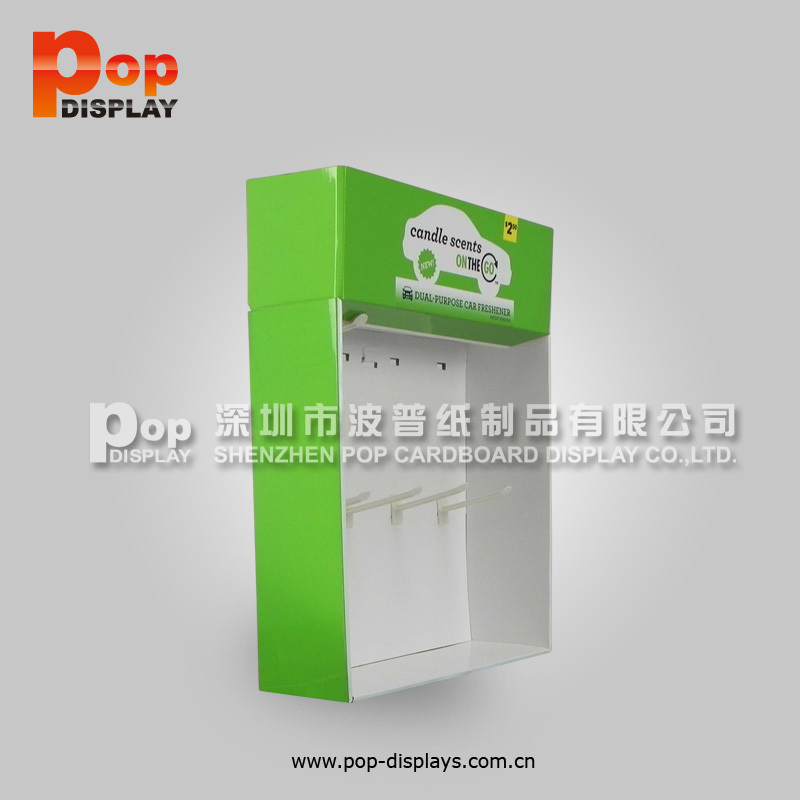 paper pop point of sale counter top display box with plastic hooks for candle scents