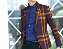2015 New Arrival High Quality Design Blazers Men Suit Stripe Personality Casual Blazer For Men Blazers Slim Fit Men