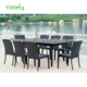 outdoor black rattan french style 8 seater dining furniture