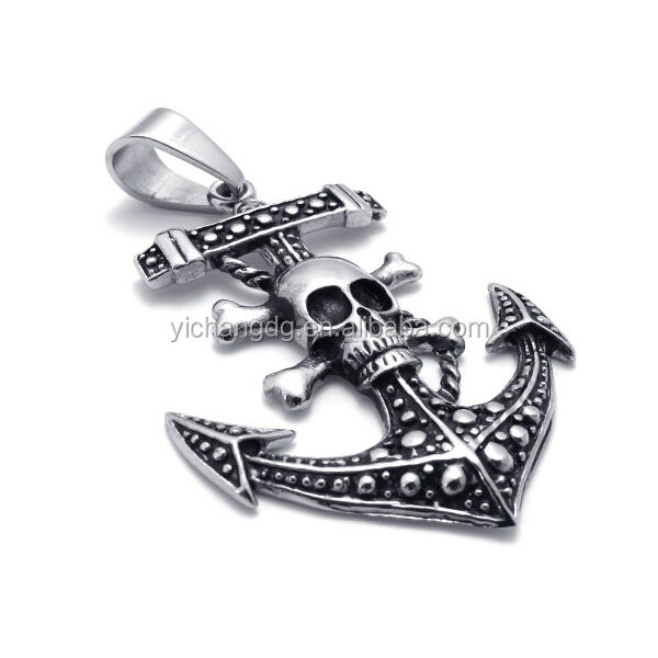 316l Stainless Steel Skull Anchor Pedant for Men