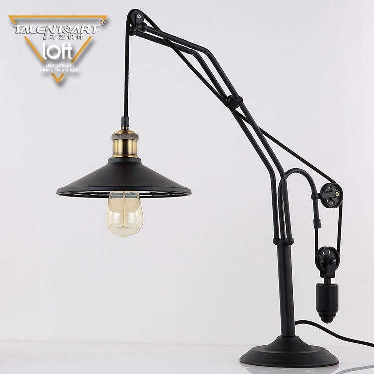 Vintage industrial Loft Style Iron black color dimmable Table Light Desk Lamp with pulleys For Bedroom reading Gift