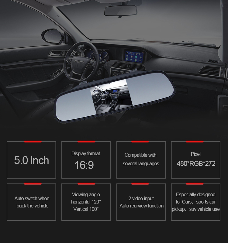 2019 Professional popular 5.0 Inch LCD car reverse side mirror monitor with great price
