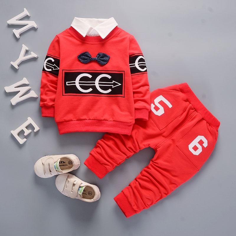 Groothandel kinderkleding jongens casual cartoon schapen applique ontwerp twinset baby jongens kleding baby kleding set