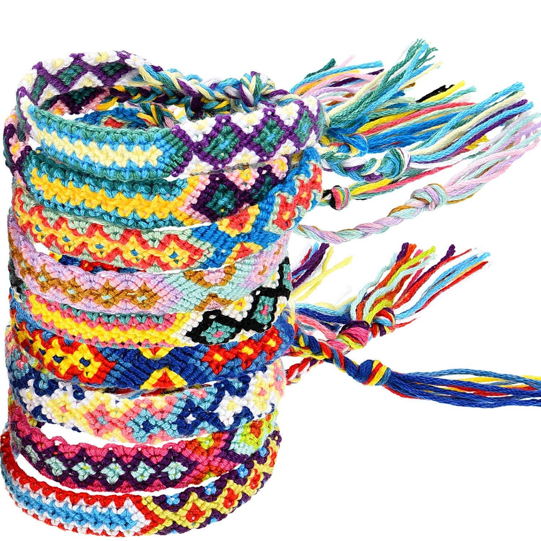 7e764a5e0c75 Get Quotations · Zhanmai 10 Pieces Woven Bracelets Handmade Friendship  Bracelets Multi Color Braided Bracelet for Wrist Ankle