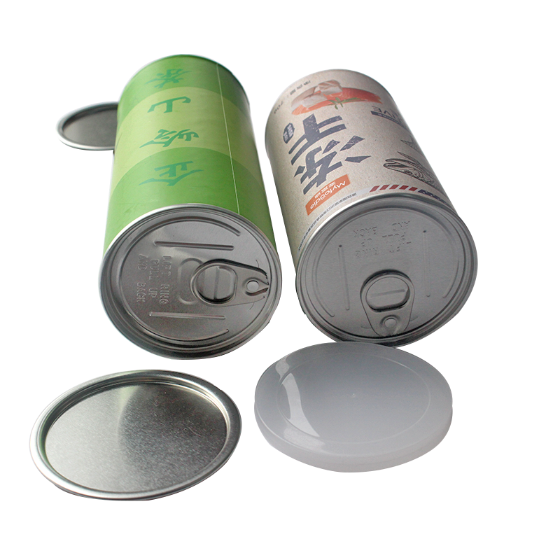 Custom made food grade easy open can lid paper tube packaging plastic lid aluminum film cardboard box for Potato chips