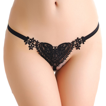 096f2e38c Luxury Wholesale Black Sweet Lace Heart Pearl G-string Picture Woman ...