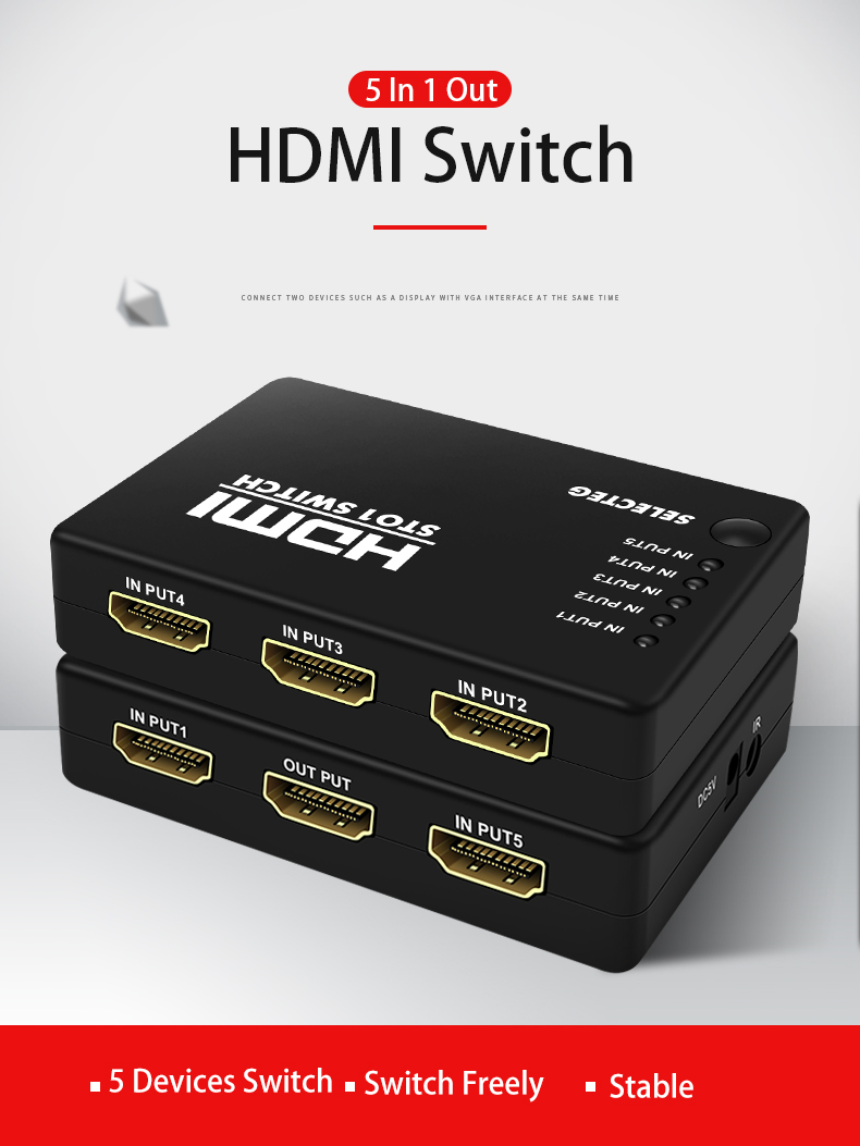 4K x 2K 5 In 1 Out  HDMI Switch with  IR Wireless Remote Control HDMI Switcher Hub Port  HDMI Switch
