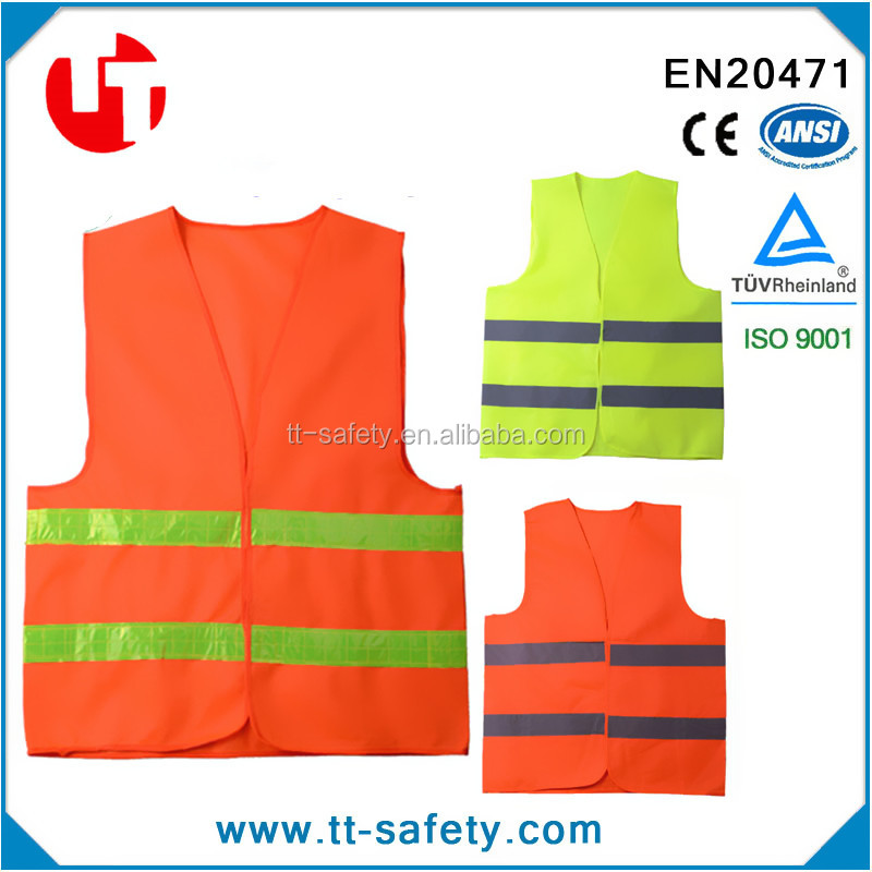 CE ANSI high visibility warning florescent glow in the dark traffic safety vest reflective