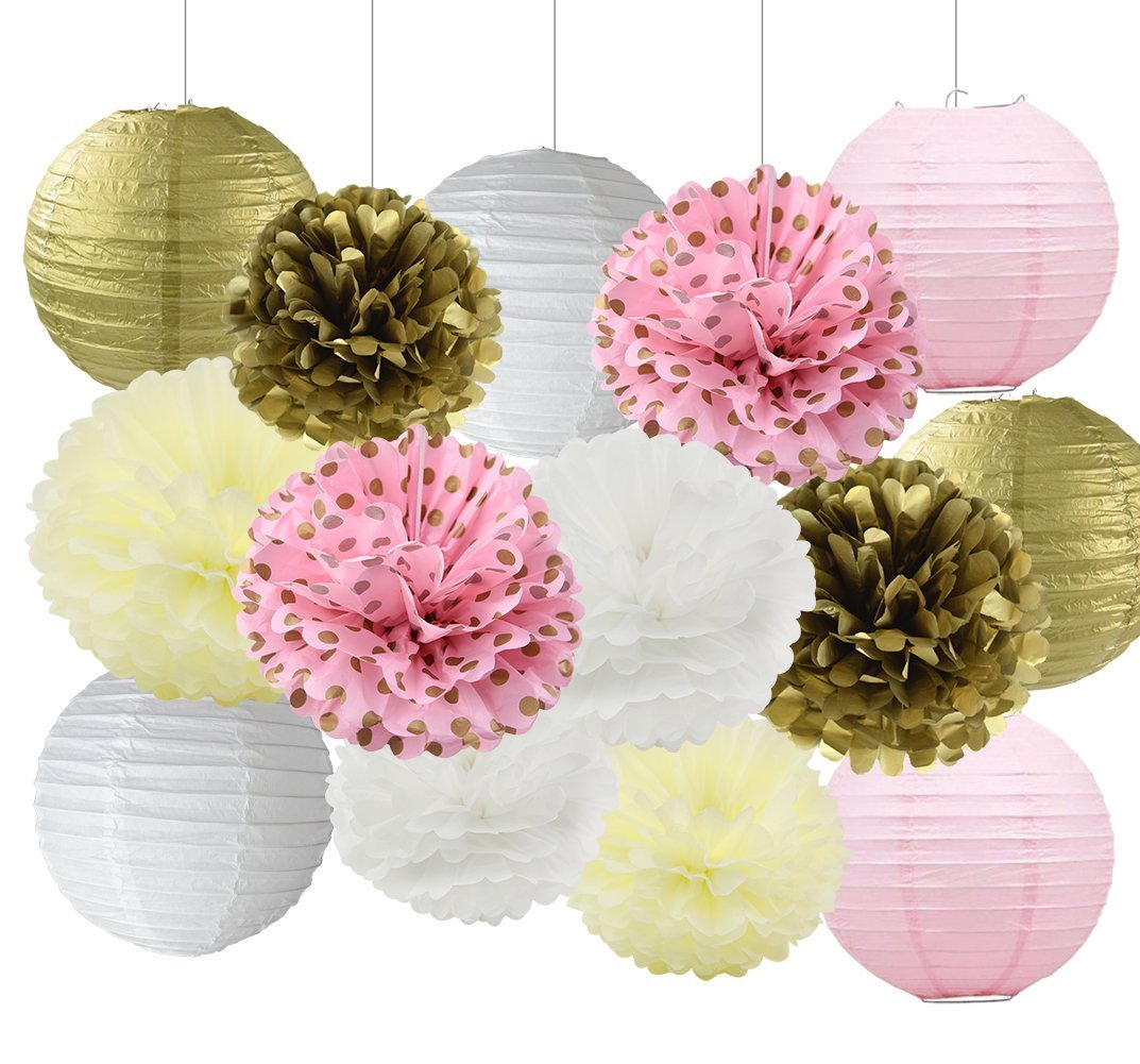Baby Shower Decorations Wedding Decorations Pink Gold White Tissue Paper Pom Poms Paper Flowers Paper Lanterns Party Decorations Kit for Bridal Shower/Birthday