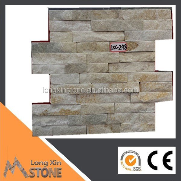 yellow white quartzite natural stone wall panels 180x350 mm with interlocking