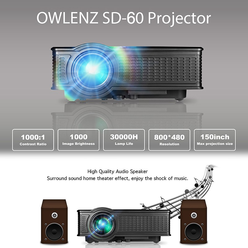 Factory original mini projector SD60 for school/home/business useing LED projector