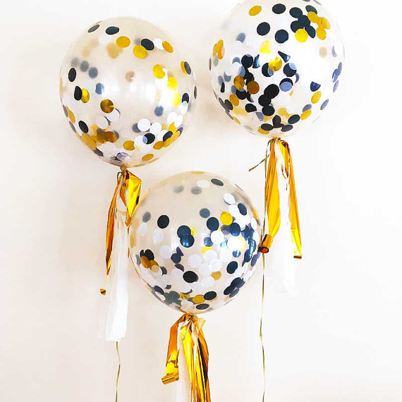 12 Inch 2018 Amazon Supply Clear Confetti Latex Balloon With Mixed Color Confetti for Party Decoration