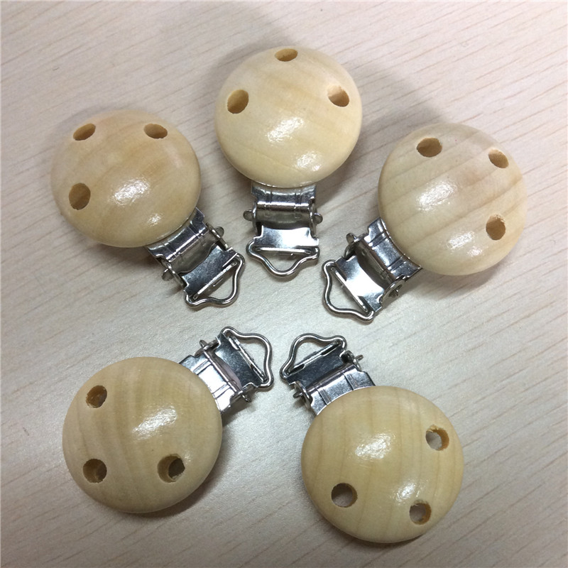 Natural Color Wood Baby Pacifier Clip Round,Funny Pacifier,Safe Kids feeding,4.4cm x 2.9cm,5 PCs