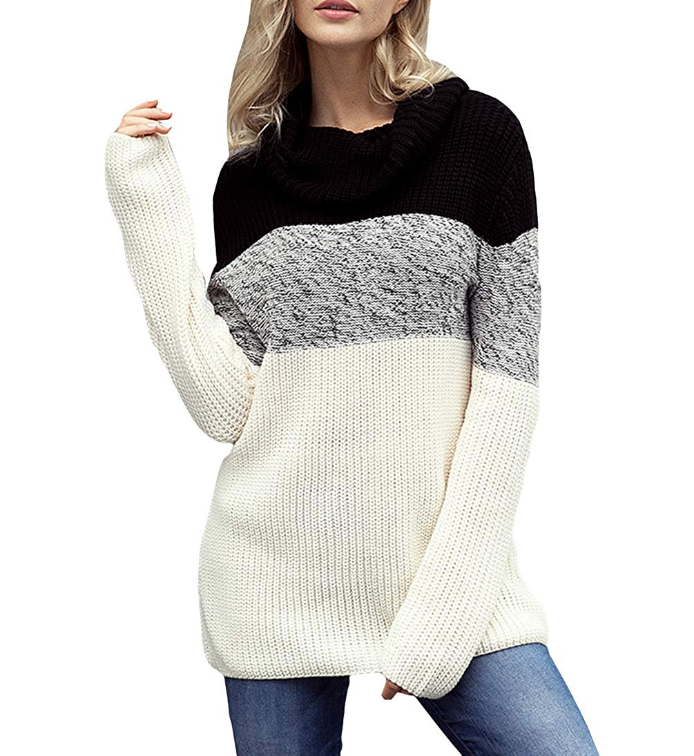 Eternatastic Women's Gray White Colorblock Cable Knit Sweater Round Neck Pullover Top