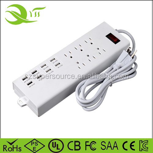 Surge protector 6 outlet US plug US market 8 usb ports power socket with FCC ETL certified