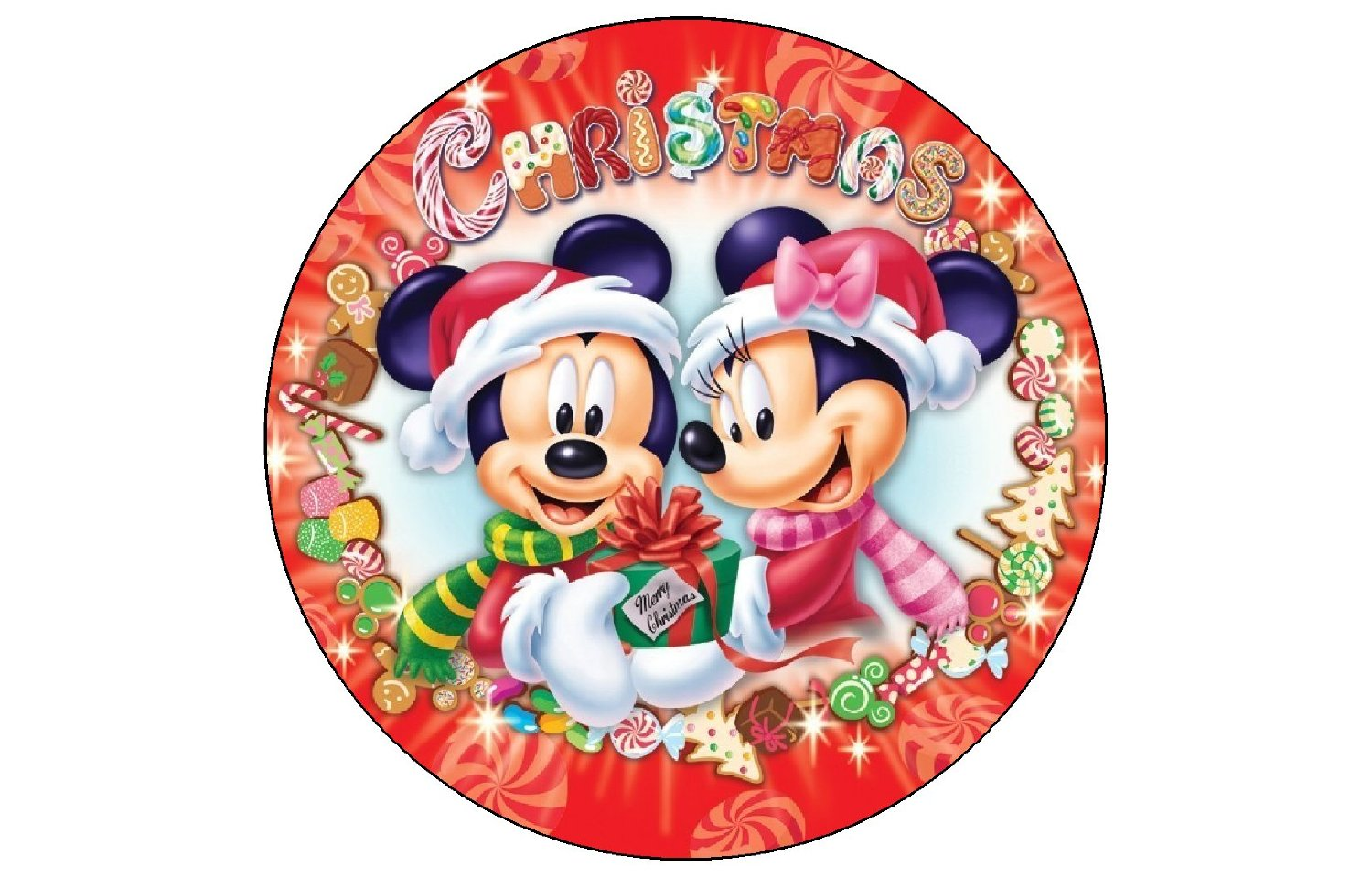 get quotations christmas holiday mickey mouse minnie 12 ct cupcake edible image cake topper birthday decoration party - Mickey And Minnie Mouse Christmas Decorations