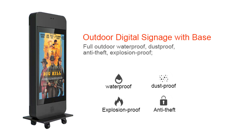 "55"" outdoor digital signage advertising display stand totem with android wifi touch screen"
