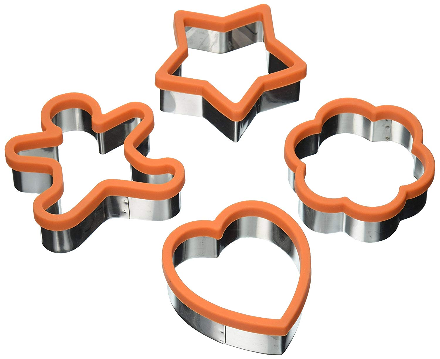 Uniware Cute Large 3 Inches Stainless Steel Cookie Cutter Set of 4 (Heart Cookie Cutter, Star Cookie Cutter and Flower Cookie Cutter, Ginger Bread Man Cookie Cutter) (Orange)