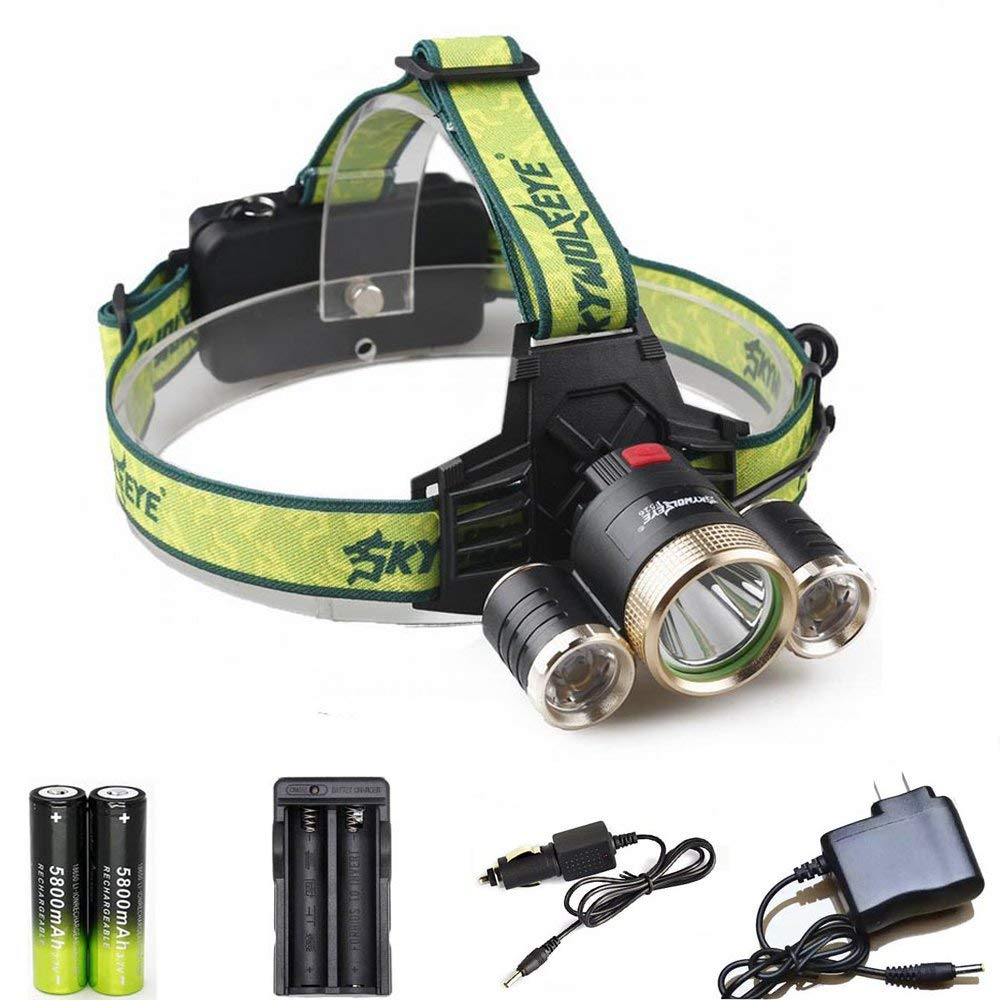 LED Headlamp 6000 Lumens 5 Modes Zoomable Hand-free Headlamp Flashlight with 18650 Rechargeable Battery Charger Wall Charger for Camping Running Reading
