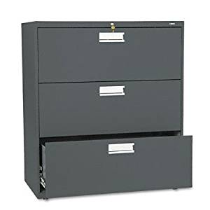 "o HON Company o - 3 Drawer Lateral File W/Lock, 36""x19-1/4""x40-7/8"", Charcoal"