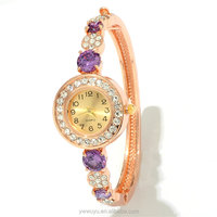 Zircon Women Analog Rose Gold Plated Quartz Bangle Bracelet Watch