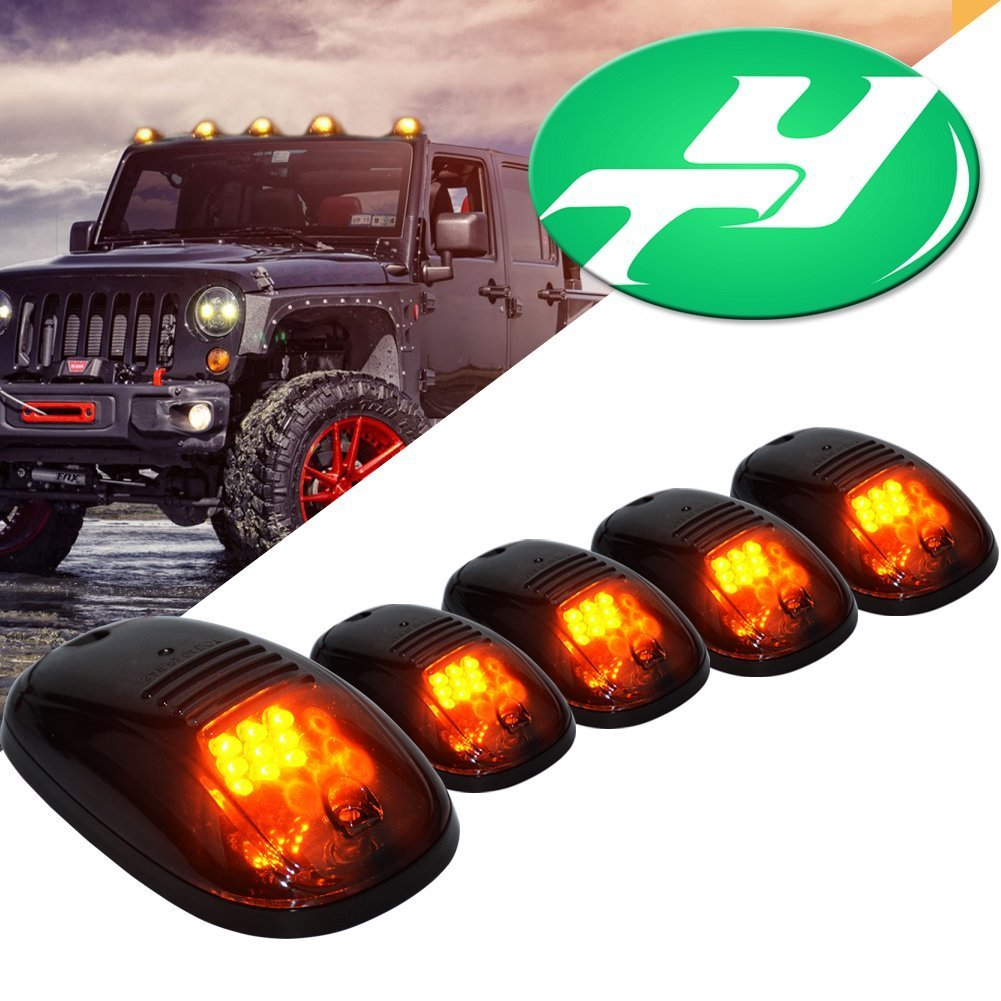 5 Pcs Amber LED Cab Roof Top Marker Running Lights for Jeep Truck SUV