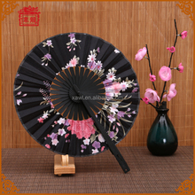 Japanese style flower patterns printed nylon fabric round hand folding fans FCS002