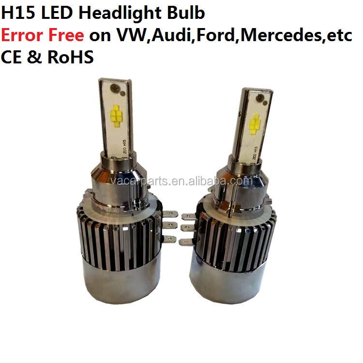 Plug and play H15 LED headlight bulb for A3 GLK Golf mk6 mk7 Sharan Scirocco Touran Touareg Explorer