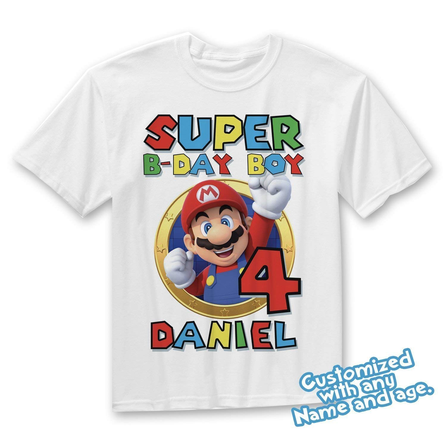 f51d61b3a Get Quotations · Super Mario Shirt Custom Birthday Shirt Personalized Name  and Age Mario T-Shirt