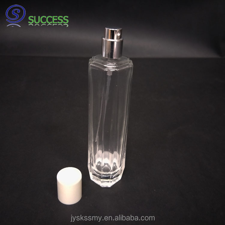 Clear Z008 50ml glass perfume bottle with atomizer and cap