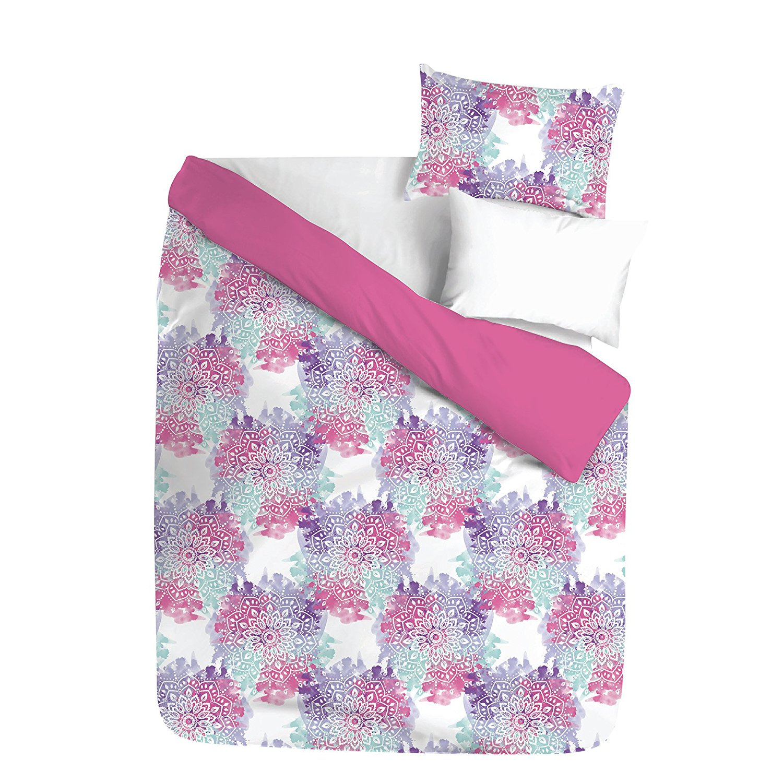 Unkk 3 Piece Girls White Blue Purple Pink Mandala Themed Comforter Full Set, Vibrant Boho Chic Medallion Motif Bedding, Bright Intricate Bohemian Floral Flower Pattern, Polyester