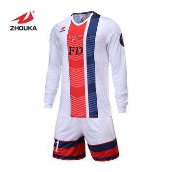super popular 2a0ab f4cc1 Wholesale Team Soccer Jerseys Design Sublimation Bulk White Long Sleeve  Soccer Jerseys Custom Cheap Soccer Jerseys, View cheap soccer jerseys,  ZHOUKA ...