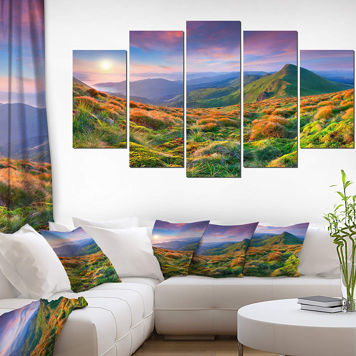 Purple Sky and Green Mountains Landscape Photo on Canvas Art Wall Photgraphy Artwork Print