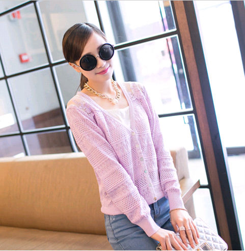 D84126H 2014 AUTUMN EUROPE FASHION KNITTED SWEATERS LADIES SPLICING LACE CARDIGANS
