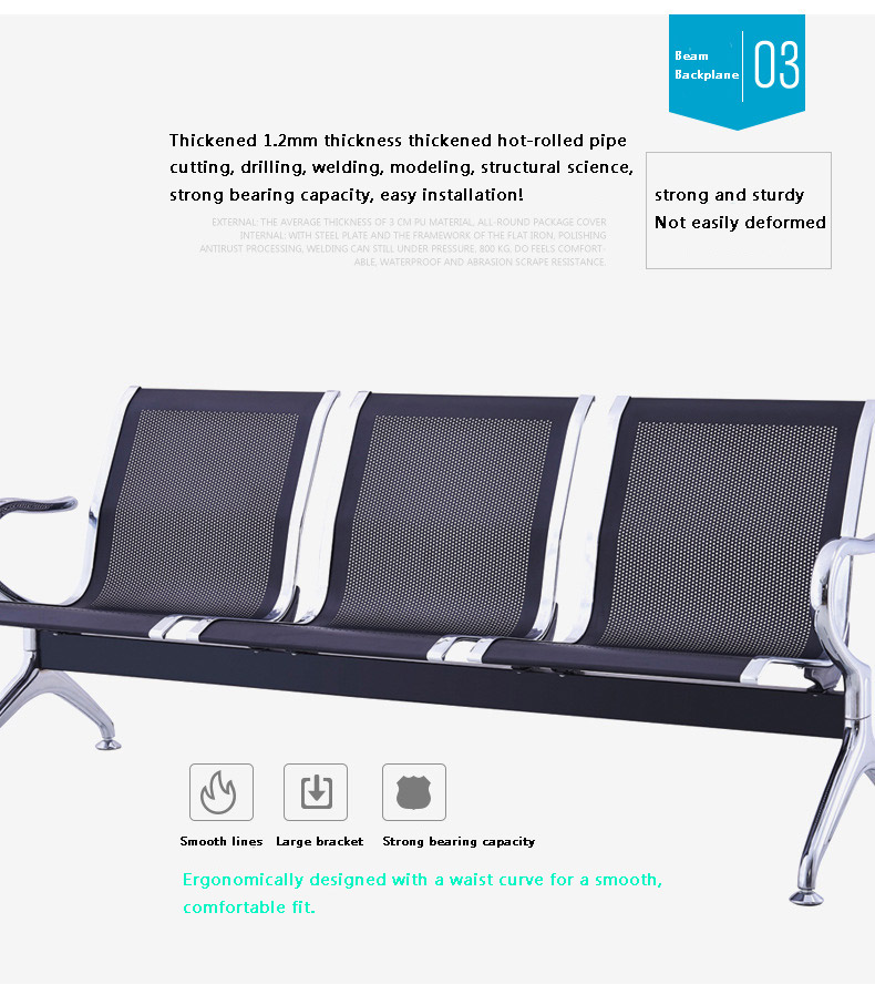 Airport waiting chairs Hospital seating public place 3 seat medical waiting chair