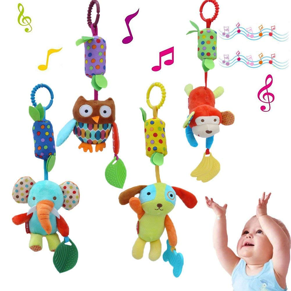 KELYNN Baby Soft Rattle Toys Infant Kids Stroller Hanging Bell Toy, Newborn Baby Car Crib Stroller Handbells Toys Cute Wind Chime and Squeak(4 Pack)