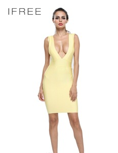 Short Sexy Ladies One Piece Dress Fabric Deep V Neck Cut Out Bandage Dress