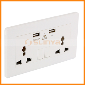 World Universal Plug 3 Hole Electrical Dual USB 2 Outlet Switch Wall Socket