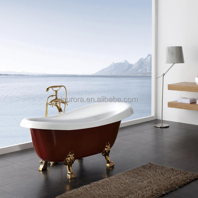 Hot selling Chinese modern deep red surface classical freestanding bathtub